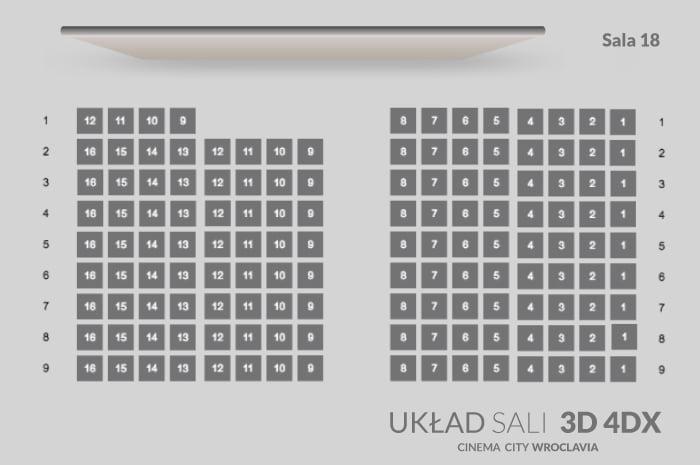 Sala 3D 4DX Wroclavia rozkład miejsc