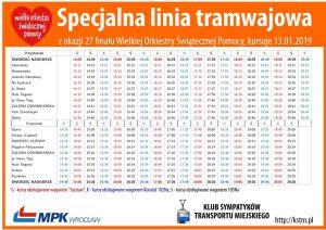 Rozkład tabelaryczny linii specjalnej na 27. finał WOŚP Wrocław