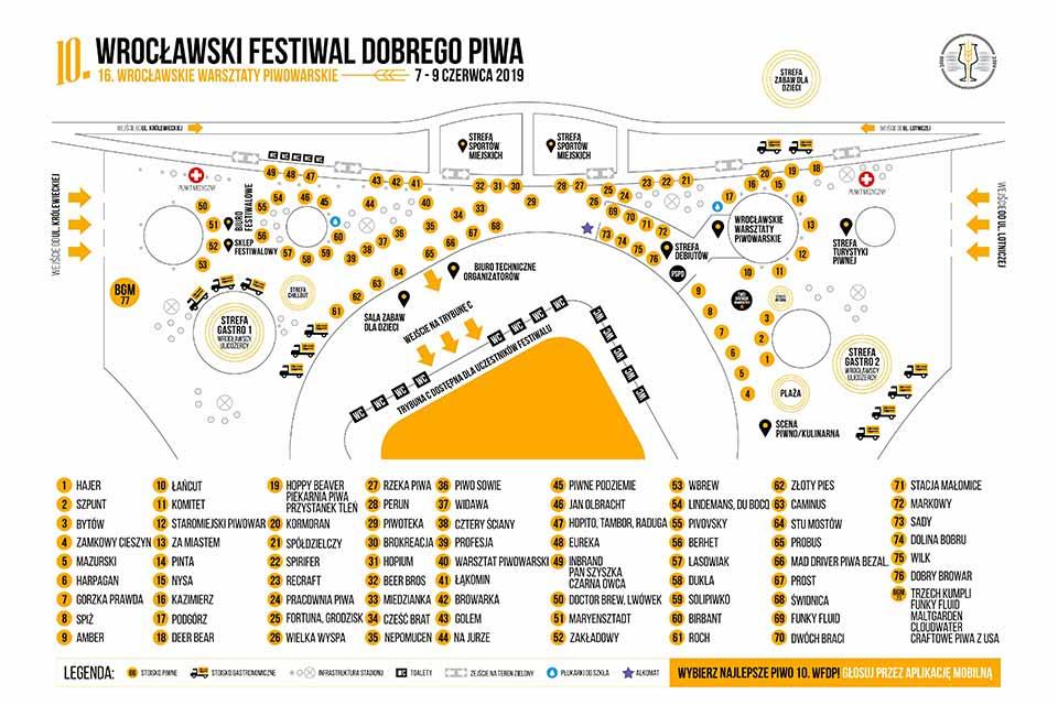 Plan stoisk Wrocławskiego Festiwalu Dobrego Piwa