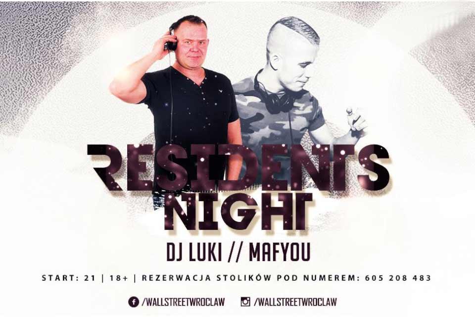Residents Night Wall St Club