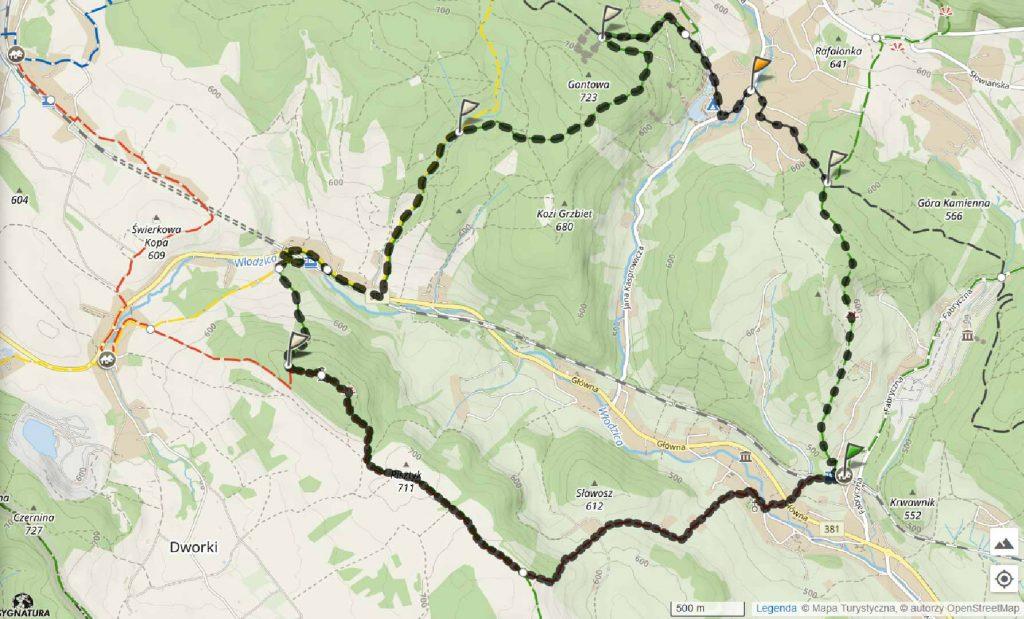 Wzgórza Włodzickie mapa trasy