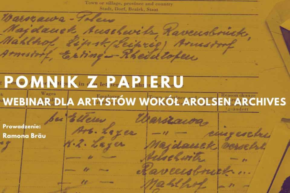 Pomnik z papieru | webinar dla artystów