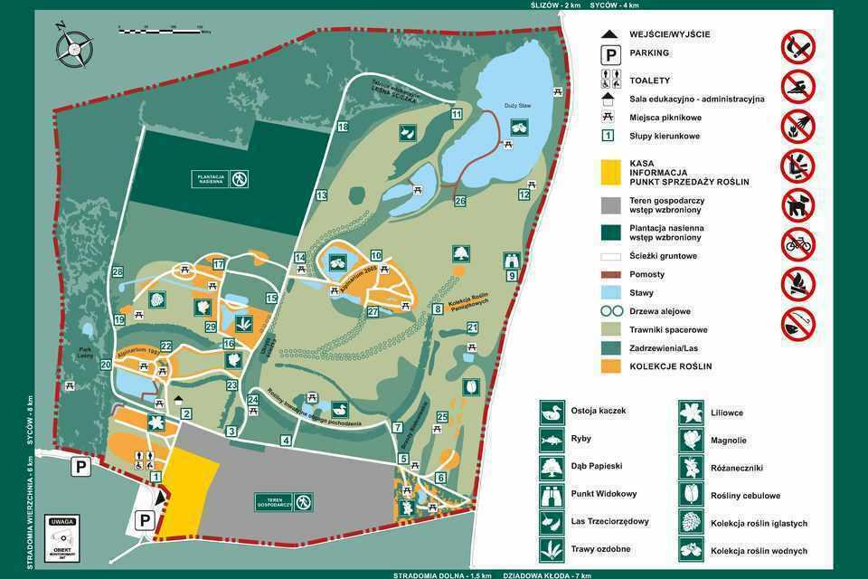 Arboretum Leśne - mapa